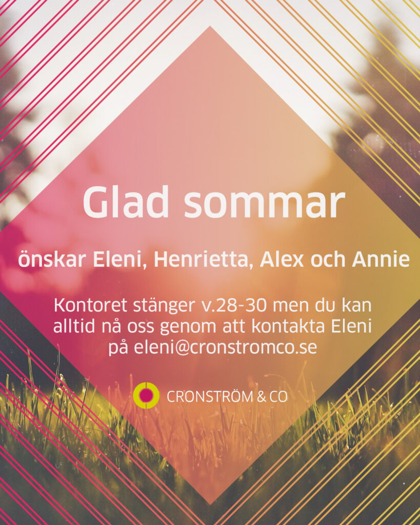 Glad sommar önskar Cronström & Co